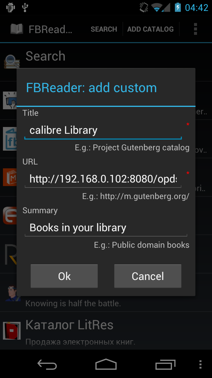 FBReader calibre integration | Favorite Book Reader